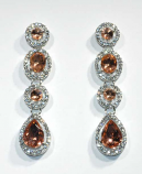 Light Peach/Clear Silver Four Linked Stone Post Earring