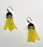 Jonquil/Silver Fashion Multiple Rows Fish Hook Earrings
