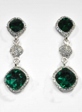 Emerald/Clear Silver Three Linked Stone Square Earring