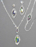 AB/Silver Marquise Shape Necklace Set
