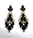 Jet/Clear Gold Multiple Stone Post Earring