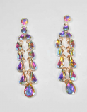 "Aurora Borealis/Gold Rain Droplets 3.5"" Post Earrings"