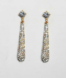 Clear/Gold Top Round Bottom Stick Shape Post Earring