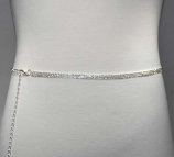 Clear/Silver Thin Belt 3 Rows Chain