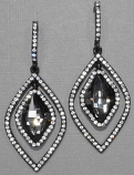 "Black Diamond/ Black Two Diamond Shape  2 1/4"" Post Earring"