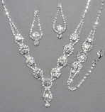 Clear/Silver Round 3 Piece Necklace Set
