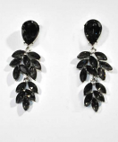 Black Diamond/Silver Connected Leaves Post Earrings