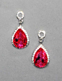 Fuchsia/Clear Silver Top Round/Bottom Teardrop Post Earring Earring