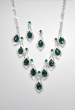 Emerald/Clear Silver Teardrop Set