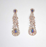 Aurora Borealis/Clear Rose Gold Long Shape Small Round Stone Post Earring