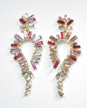 """Rose/Clear Gold Marquise Shape 3"""" Post Earring"""