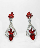 Siam Light/Clear Silver Pearshape Center Flower Earring