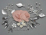 Pearl/Clear Silver Branch Fabric Comb