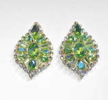 Olivine/Clear Gold Leaf Shape Multiple Stone Post Earring