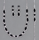 Jet/Clear Silver Marquise Necklace Set 3 Pieces