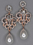 """Pearl/Clear Rose Gold Framed 3"""" Dancing Stone Earring"""
