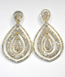 Clear/Gold Two Linked Pearshape Earring