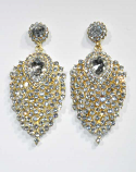 """Clear/Gold Small Round Stone Center Pearshape 2"""" Earring"""