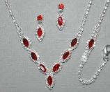 Siam Light/Clear Silver Small Marquise Necklace Set 3 Pieces