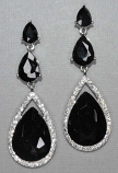 "Jet/Silver Three Linked Teardrop Stone 2.5""Post Earring"