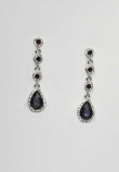 Amethyst/Clear Silver Four Linked Round/Teardrop Post Earring