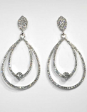 Clear/Silver Top Leaf Bottom Teardrop Shape Post Earring