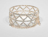 Clear/Rose Gold Small Round Stone Triangle Shape Bracelet