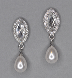 Pearl/Clear Silver Top Marquise Bottom Dancing Stone Earring