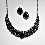 Jet/Black Oval/Round Stone Necklace/Post Earring