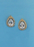"Cubic Zirconia/Silver Single Teardrop 0.5"" Post Earring"