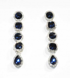 "Montana Navy/CLear Silver Linked Stones 2.5"" Post Earring"