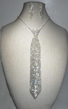 Clear/Silver Tie Necklace Set