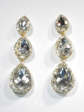 "Clear/Gold Three Linked Big Size Pearshape Post 3"" Earring"