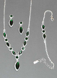 Emerald/Clear Silver Necklace Set 3 Pieces