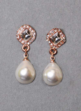 "Pearl/Clear Rose Gold Top Diamond Shape 1"" Post Earring"