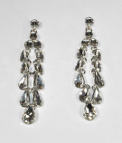 "Clear/Silver Rain Droplets 3.5"" Post Earring"
