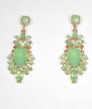 Peridot/Gold Flower Shape Post Earring