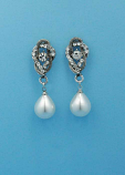 "Pearl/Clear Antique Silver Top Branch Dancing Stone 1.5"" Post Earring"