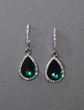 Emerald/Clear Silver Bottom Teardrop Fish Hook Earrings