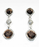 Topaz/Clear Silver Three Linked Stone Square Earring