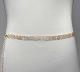 Clear/Gold 6 Line Small Round Stone Chain Belt