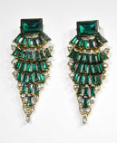 Emerald/Clear Gold Layers Shape Earring