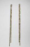 """Clear/Gold Two Row 12"""" Long Earring"""