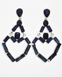 Montana Navy/Silver Linked Baguette Stone Post Earring