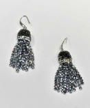 Hematite/Silver Fashion Multiple Rows Fish Hook Earrings
