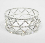 Clear/Silver Small Round Stone Triangle Shape Bracelet