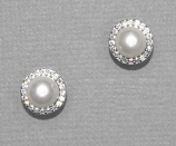 10MM Cream Pearl/Clear/Silver Stone Pave Around  Post Earring