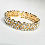 Clear/Gold Three Row Round Stone Stretch Bracelet