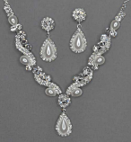 Siam Light/Clear Silver Marquise/Round Stone Set