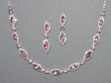 Light Rose/Clear Silver Marquise/Round Stone Set